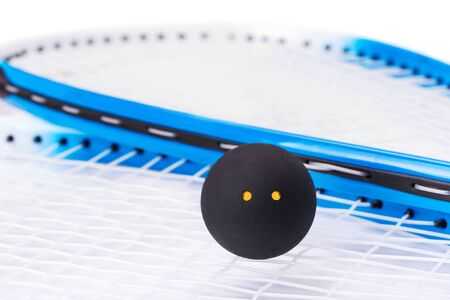 Raquet: Squash rackets and ball over white background Stock Photo
