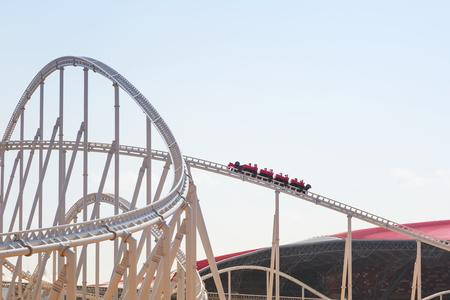Roller coaster at Ferrari World on Yas Island in Abu Dhabi