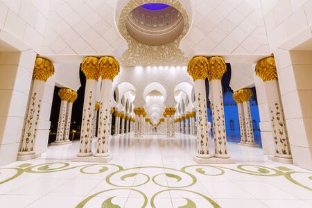 zayed: Columns of Sheikh Zayed Grand Mosque in Abu Dhabi, UAE Editorial