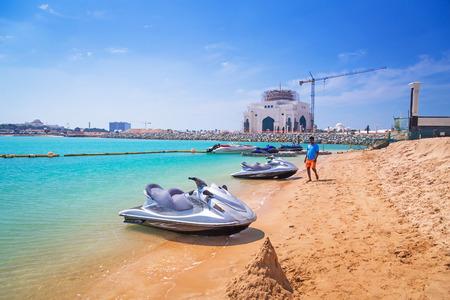 jetski: Jetski for rent on the beach of Khalidiya Palace resort Editorial