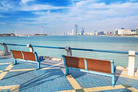 the gulf: Benches at Persian Gulf in Abu Dhabi