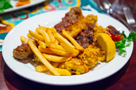 lebanese: Lebanese food with chips on the plate Stock Photo