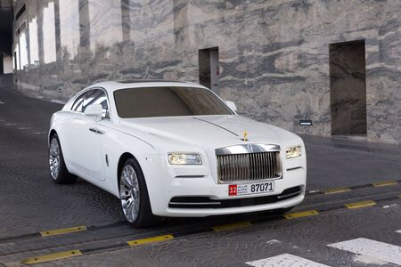 wraith: Rolls-Royce Wraith at the Etihad Towers Hotel in Abu Dhabi Editorial