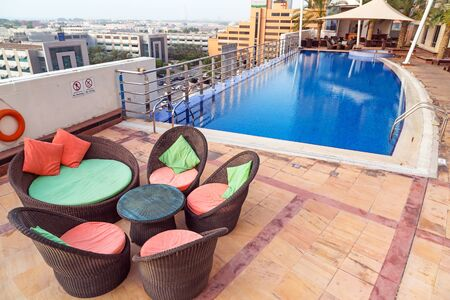 midwest: Pool area of The Grand Midwest Tower Hotel in Dubai, UAE