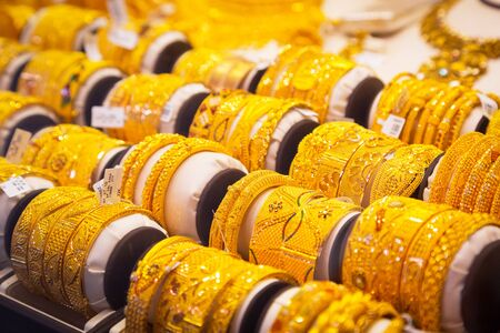 gold souk: Gold on the famous Golden souk in Dubai Deira market Editorial
