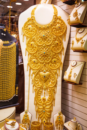 gold souk: Gold on the famous Golden souk in Dubai Deira market Stock Photo