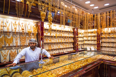 gold souk: Gold on the famous Golden souk in Dubai Deira market Editorial