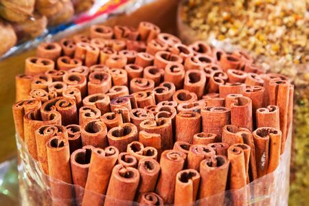 bulk: Cinnamon sticks on the Deira market of Dubai, UAE