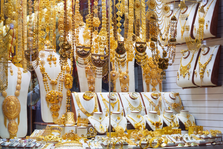 gold souk: Gold on the famous Golden souk in Dubai Deira market Stock Photo