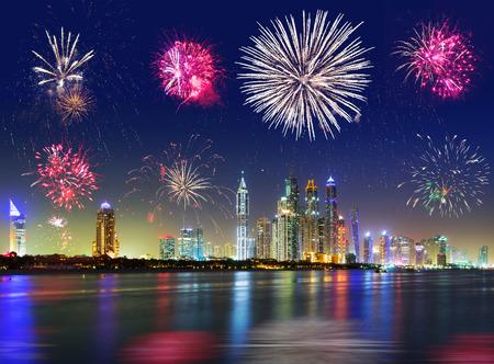 New Year fireworks display in Dubai, UAE Stock Photo