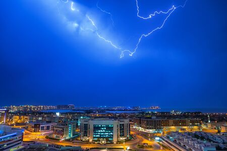 architectural firm: Thunderstorm in Dubai Internet City, UAE Stock Photo