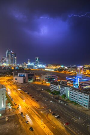 architectural firm: Thunderstorm in Dubai Internet City, UAE Editorial