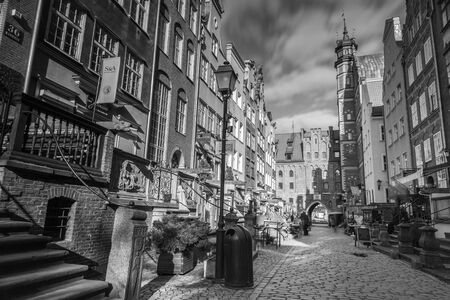 Architecture of Mariacka street in Gdansk Editorial