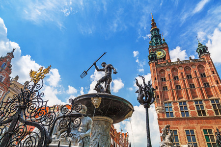 Fountain of the Neptune in old town of Gdansk