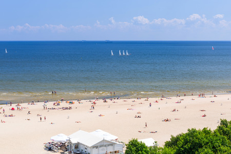 baltic people: People on the beach of Sopot at Baltic Sea