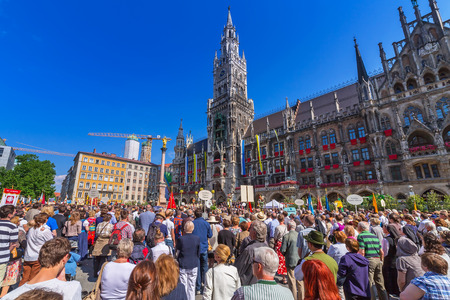 feast: People at the New Town Hall on the Feast of Corpus Christi, Munich, Germany