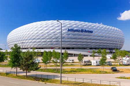 Allianz Arena stadium on a sunny day in Munich, Germany