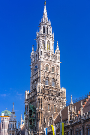trolleybus: The New Town Hall architecture in Munich, Germany Stock Photo