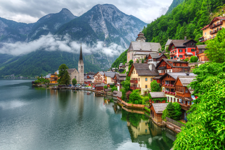 Hallstatt village in Alps on a cloudy day, Austria