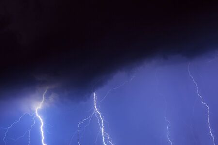 thunderstorm: Summer thunderstorm at night Stock Photo