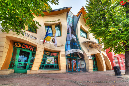 The Crooked house on the Heroes of Monte Cassino street in Sopot, Poland