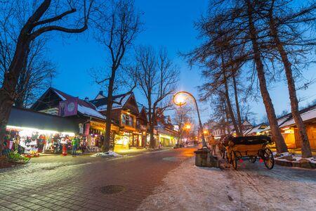 zakopane: Famous Krupowki street in Zakopane at winter time