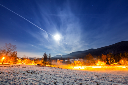 Strazyska valley in Tatra mountains at night, Poland Stock Photo