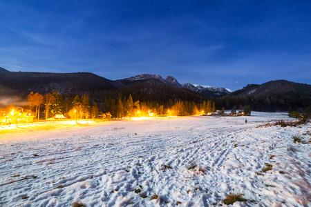 giewont: Strazyska valley in Tatra mountains at night, Poland Stock Photo
