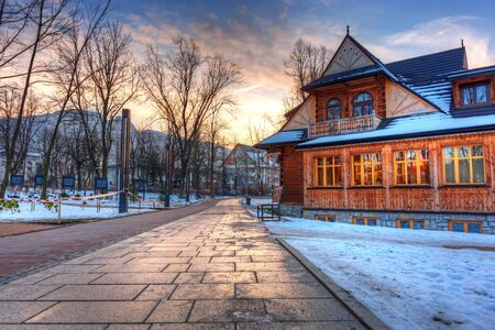 zakopane: Sunset in the park of Zakopane at winter time, Poland