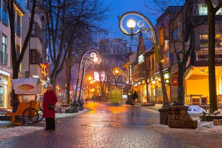 zakopane: Famous Krupowki street in Zakopane at winter time