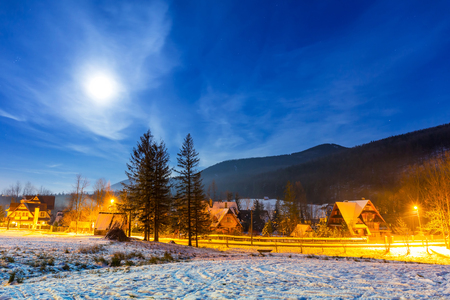 Snowy valley in Tatra mountains at night, Poland