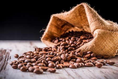 linen bag: Coffee beans in linen bag