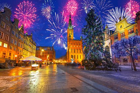 firework display: New Years firework display in Gdansk, Poland
