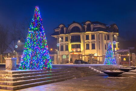 zakopane: Christmas decoration on the street in Zakopane, Poland