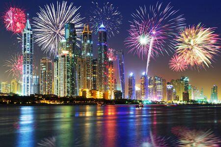 New Year fireworks display in Dubai, UAE Foto de archivo