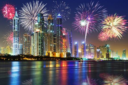 New Year fireworks display in Dubai, UAE 版權商用圖片