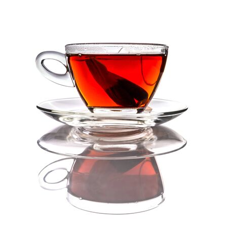 teabag: Cup of tea with teabag over white background Stock Photo