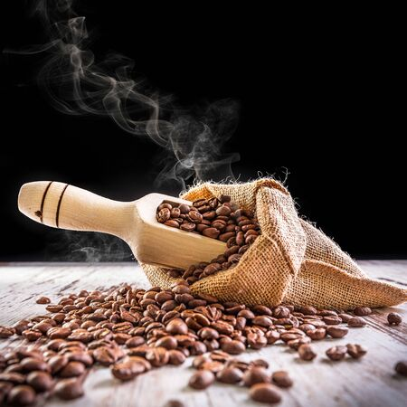 linen bag: Roasted coffee beans in linen bag