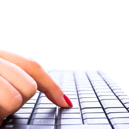 enter button: Pressing enter button on the computer keyboard Stock Photo