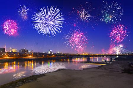 New Year fireworks display in Warsaw, Poland Archivio Fotografico