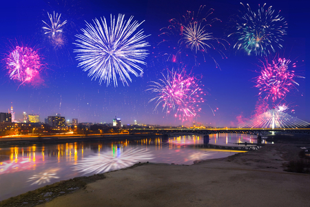 New Year fireworks display in Warsaw, Poland Stock Photo