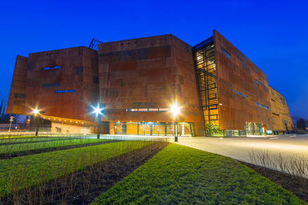 solidaridad: Rusty steel building of European Solidarity Centre in Gdansk, Poland Editorial