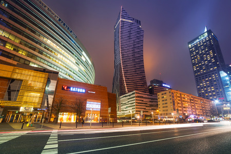 Skyscrapers in the city center of Warsaw at night, Poland