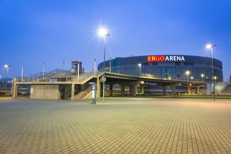boundary: Stadium Ergo Arena at night on the boundary of two cities - Gdansk and Sopot in Poland Editorial