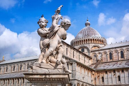 miracoli: Sculpture in marble at the Piazza dei Miracoli of Pisa, Italy Stock Photo