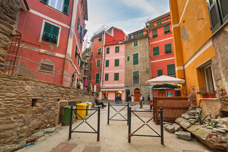 vernazza: Beautiful architecture of Vernazza town at the Ligurian sea in Italy