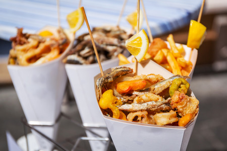 Sea food in cones on the street of Italy
