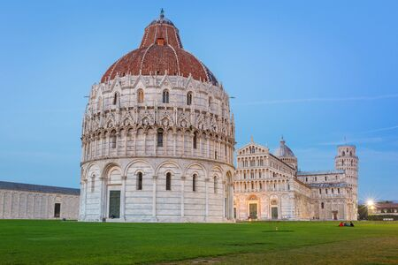 miracoli: Cathedral and the Leaning Tower of Pisa at Piazza dei Miracoli Stock Photo