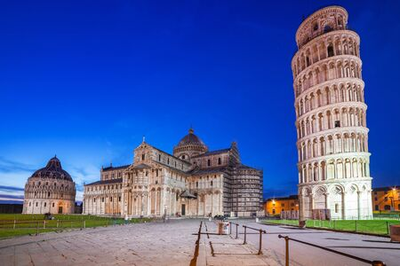 miracoli: Piazza dei Miracoli with Leaning Tower of Pisa, Italy Stock Photo
