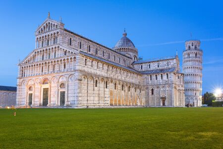 piazza dei miracoli: Cathedral and the Leaning Tower of Pisa at Piazza dei Miracoli Stock Photo